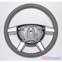 GENUINE HOLDEN WL STATESMAN LEATHER STEERING WHEEL WK VY VZ LIGHT GREY REED