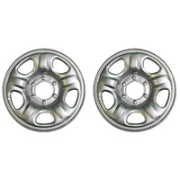 "16"" Steel Trailer Wheel 16x6.5"" Rims X2 Silver 6 Stud Caravan Camper Boat Trailer NEW"
