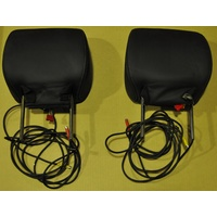 "(FACTORY 2ND) DVD Head Rests Black 7"" Leather White Stitching Futuris PAIR Accessory Multimedia"