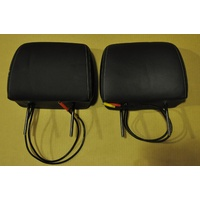 "(FACTORY 2nd) DVD Head Rests Black 7"" Leather Genuine Futuris Pair Accessory Multimedia"