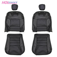 Holden VE / WM Chev Export USA Police Front Leather Seat Trims Set - Black/Grey Upright, Base, Headrest - Left and Right